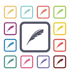 feather flat icons set vector image vector image