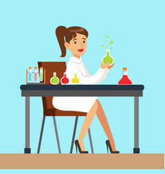 Female scientist is conducting research in a lab vector