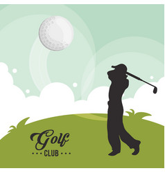Golf club player ball flying vector