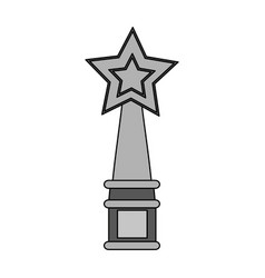 Gray color graphic trophy with symbol star vector