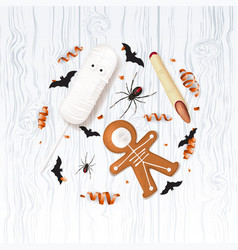 halloween festive background with treats vector image