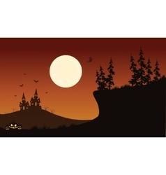 Halloween pumpkins and bat of silhouette vector image