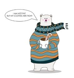 Hand drawn fat polar bear wearing scarf vector image