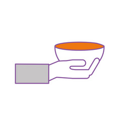 Hand human with kitchen vessel isolated icon vector