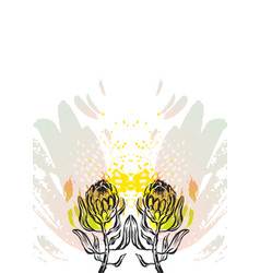 Hand made graphic abstract floral card vector