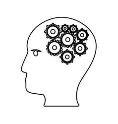 human head gears work outline vector image