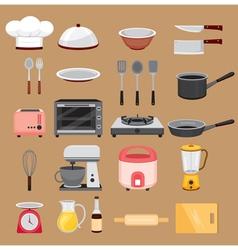 Kitchen equipment icons set vector