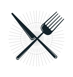 knife and fork crossed vector image