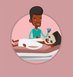 Man in beauty salon during cosmetology procedure vector