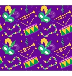 Mardi Gras Carnival seamless pattern with mask vector image vector image