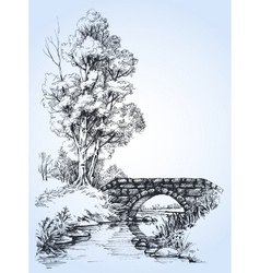 Park sketch a stone bridge over river in the vector image vector image