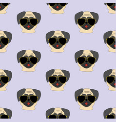 Pug dog in glasses pattern vector