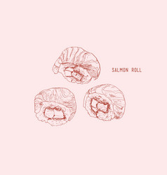 Salmon roll sushi hand drawn vintage sushi set vector