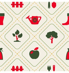 seamless background with Gardening related icons vector image