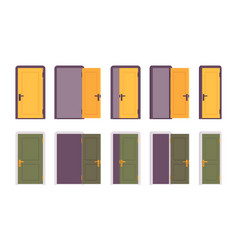 set of doors in yellow and green vector image vector image