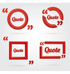 Set of Quote template with 3d red form vector image vector image