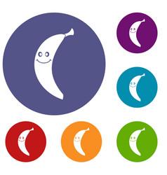 Smiling banana icons set vector