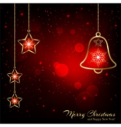 Sparkling Red Gold Christmas Bell vector image vector image