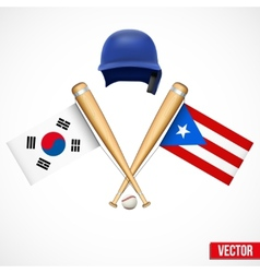 Symbols of baseball team south korea and puerto vector
