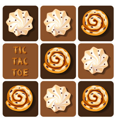 Tic-tac-toe of cinnamon roll and meringue vector