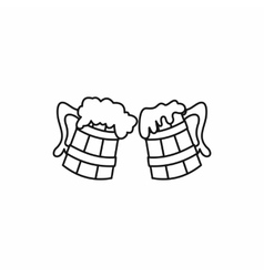 Two beer mugs with foam splash icon outline style vector image
