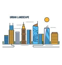 Urban cityscape flat line design vector image vector image