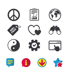 World globe icon ying yang sign hearts love vector