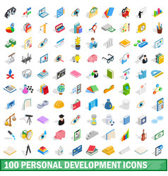 100 personal development icons set vector image vector image