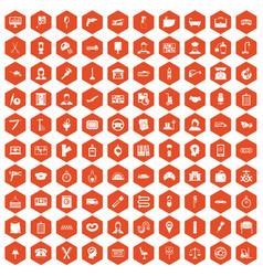 100 work icons hexagon orange vector image vector image