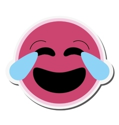 Laughing emoticon icon vector