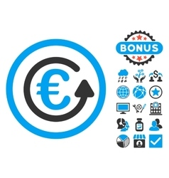 Euro chargeback flat icon with bonus vector