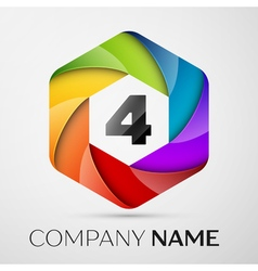 Four number colorful logo in the hexagonal on vector image