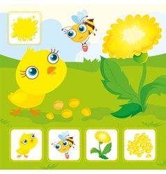 Yellow chick with bee vector