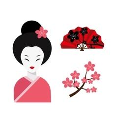 Japanese woman folk art maiden character vector image