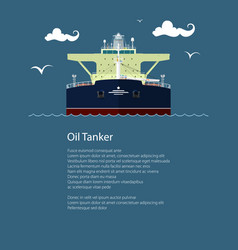 Front view of oil tanker and text vector