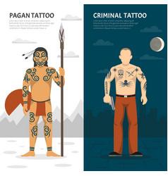 Tattoo studio vertical banner set vector