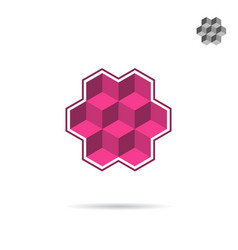 isometric wall segment cubic logo vector image