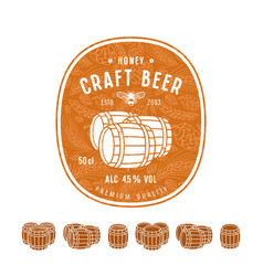 Honey beer label and design elements vector