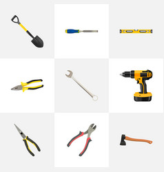 Realistic chisel nippers pliers and other vector