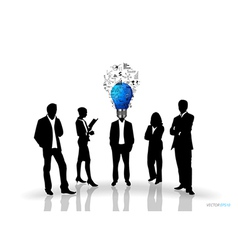 Bulb headed man and business people silhouettes vector