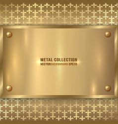 Abstract metal old gold plaque on the ornament vector
