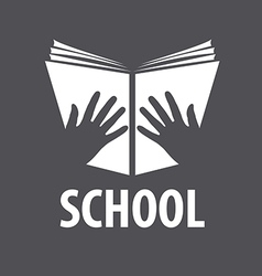 logo open book in his hands vector image