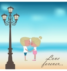 Boy and girl kissing summer background vector