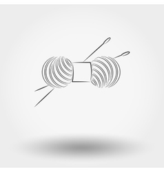 Skein of yarn for knitting and needles vector