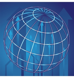 abstract globe and blue arrows vector image