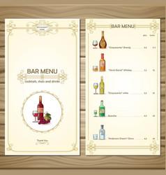 bar menu template vector image