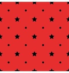 Black polka dot geometric and stars seamless vector image vector image