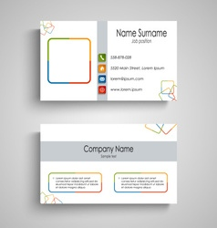 Business card with colorful square pattern vector