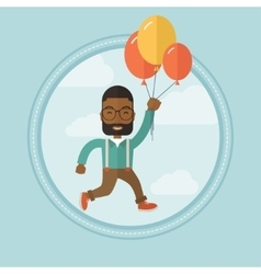 Businessman flying up away on bunch of balloons vector