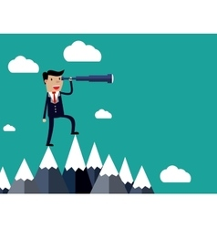 Businessman stand on top of mountain vector image